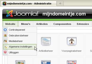 Algemene instelling in Joomla ack-end