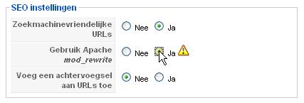 Joomla's Algemene instellingen menu