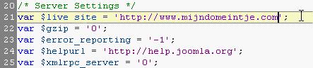 configuration.php $var live_site=''