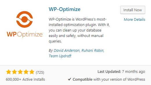 Snelle website WP-Optimize WordPress plugin