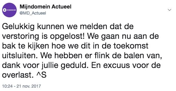 Twitter @MD_actueel storing opgelost