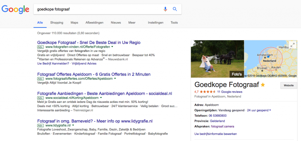 Op 1 in google