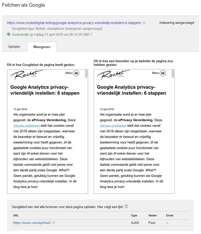 fetchen als google voorbeeld