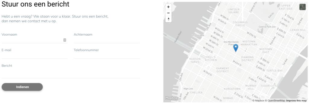 Contactpagina met formulier en routekaart