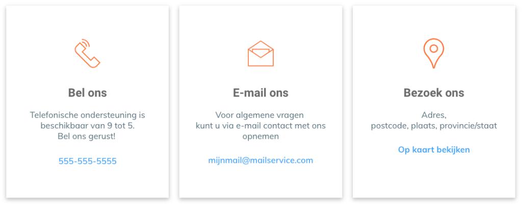 Contactpagina telefoonnummer email adres