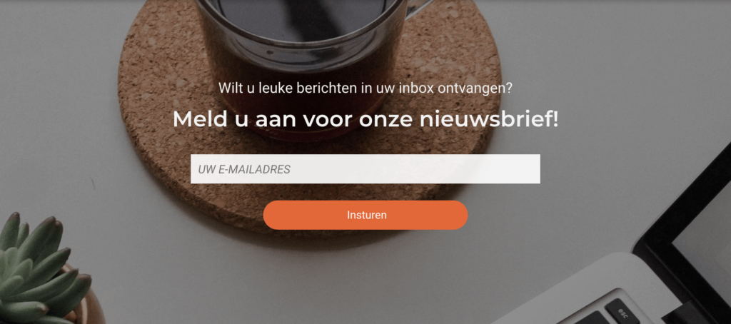 over ons pagina nieuwsbrief call-to-action