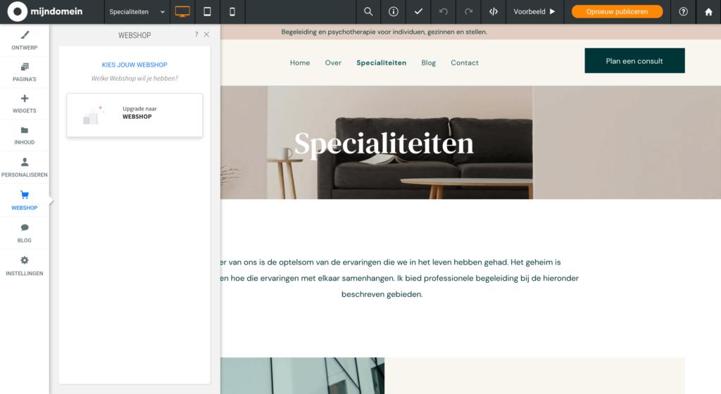 Webshop toevoegen aan Websitemaker