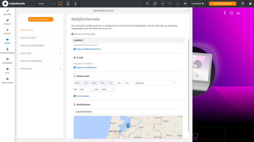 Bedrijfsinformatie locaties toevoegen in Websitemaker