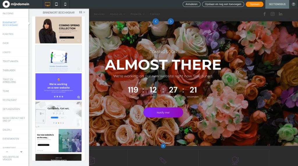 Binnenkort beschikbaar sectie in Websitemaker