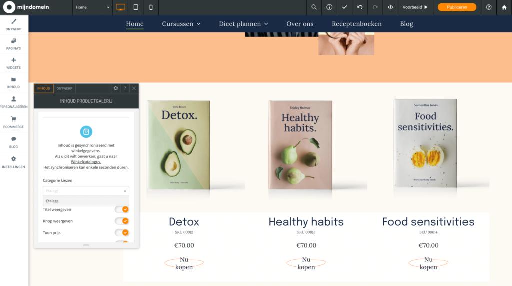 Mijndomein webshop productgalerij