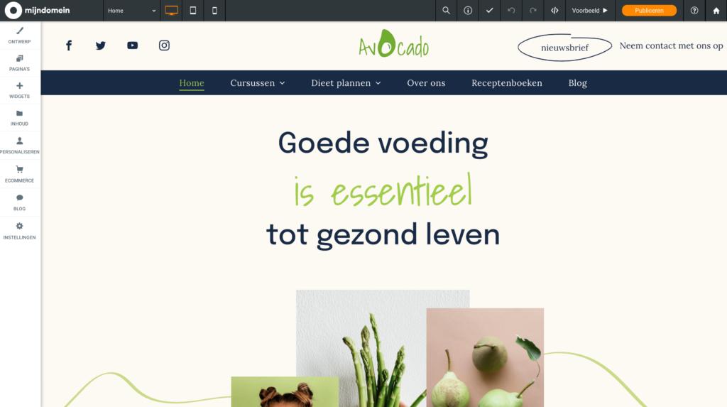 Mijndomein webshop voedingsdeskundige sjabloon